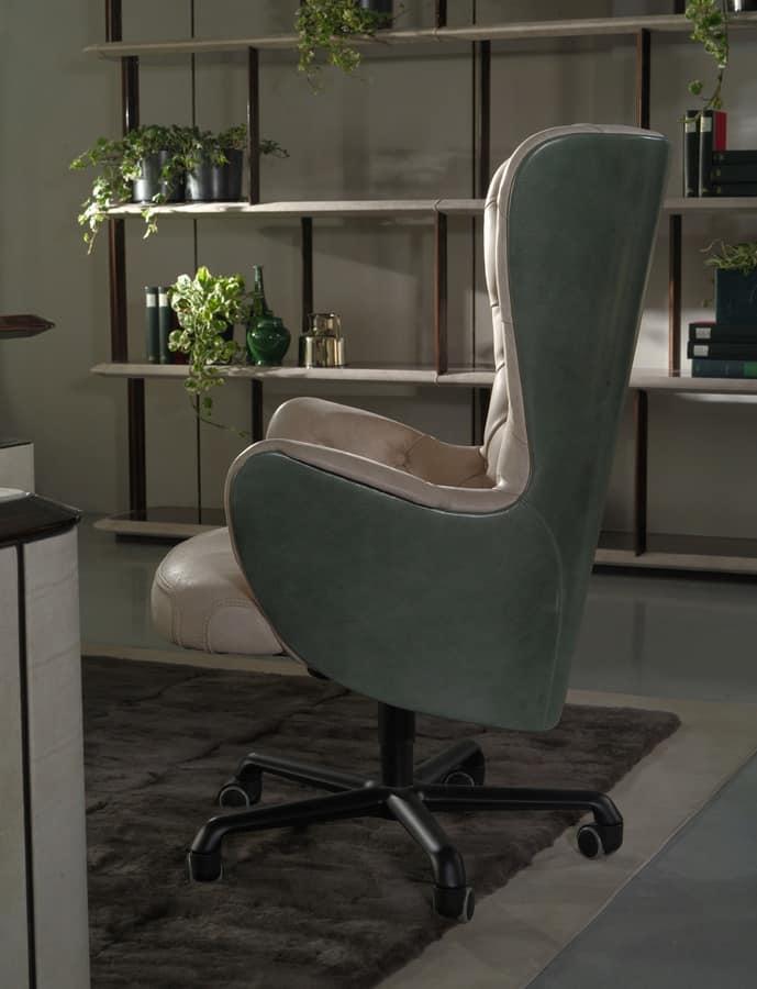 Poltrona girevole per ufficio in stile classico idfdesign - Sedie e poltrone ufficio ...