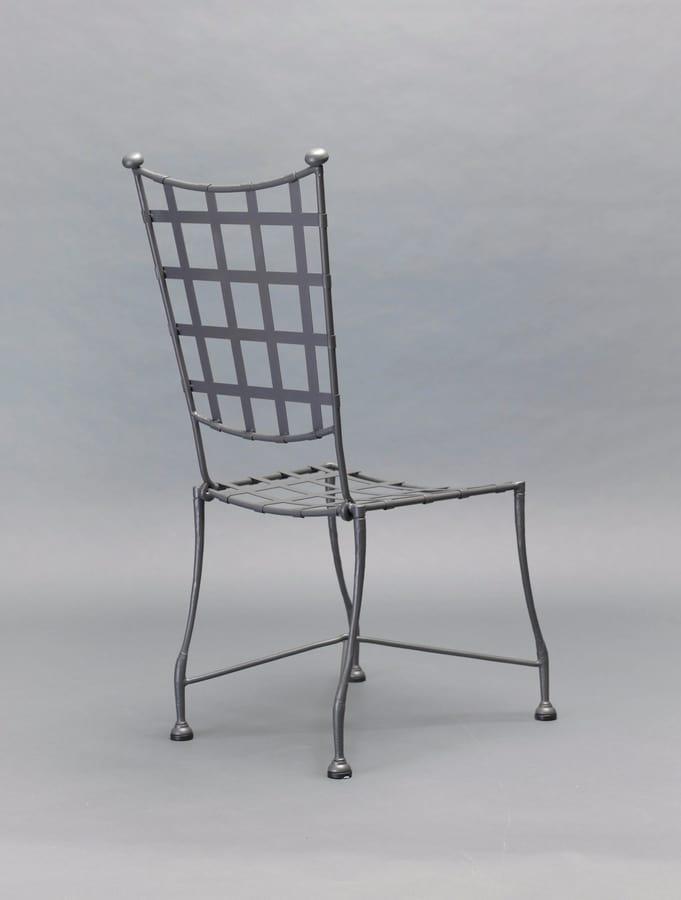 INTRECCIO GF4004CH, Sedia per esterno in ferro battuto grigio