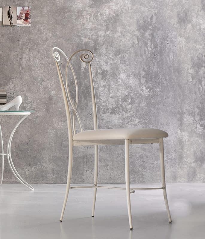 Klimt sedia, Sedia in metallo, seduta in ecopelle, per esteno