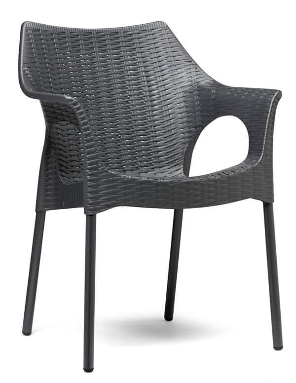 Sedia in alluminio e tecnopolimero impilabile per for Sedie giardino esterni