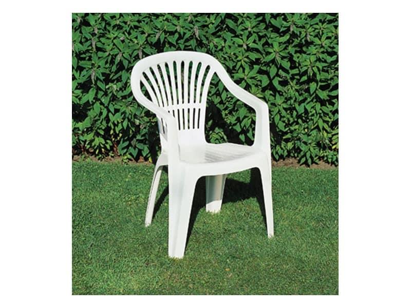 Sedia in plastica con braccioli per giardino idfdesign