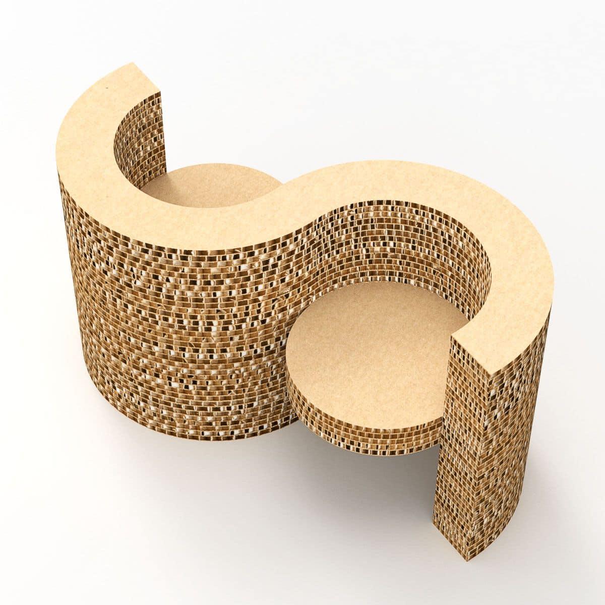 Sedie In Cartone Design.Elemento Con Due Sedute Con Braccioli In Cartone Idfdesign