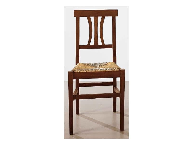 112, Sedia da pranzo in legno solido, seduta in paglia