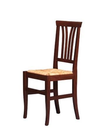 186, Sedia rustica in legno di faggio, seduta in paglia, per bar