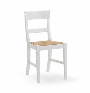 IMPERIALE 700, Sedia bianca con seduta in paglia