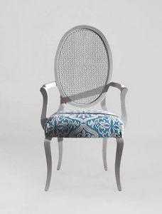 S16PCANNA, Sedia con braccioli, schienale ovale in canna