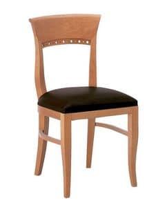 Atene S, Sedia in legno con seduta imbottita dalle linee classiche