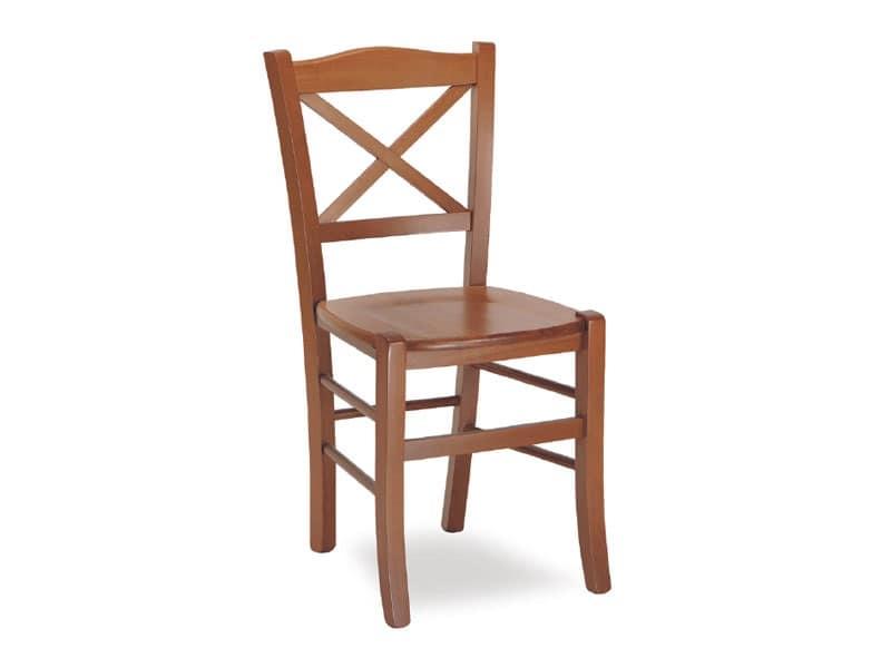 SE 452, Sedia in legno massello, in stile rustico, per pizzeria