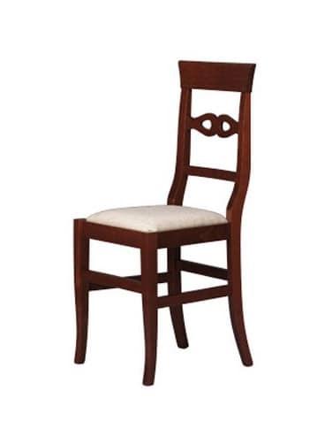 212, Sedia da pranzo, in faggio, schienale con decori semplici