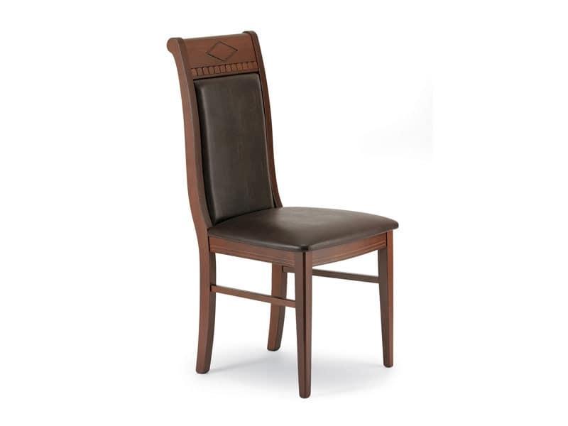 725, Sedia con schienale decorato alto, per sala da pranzo