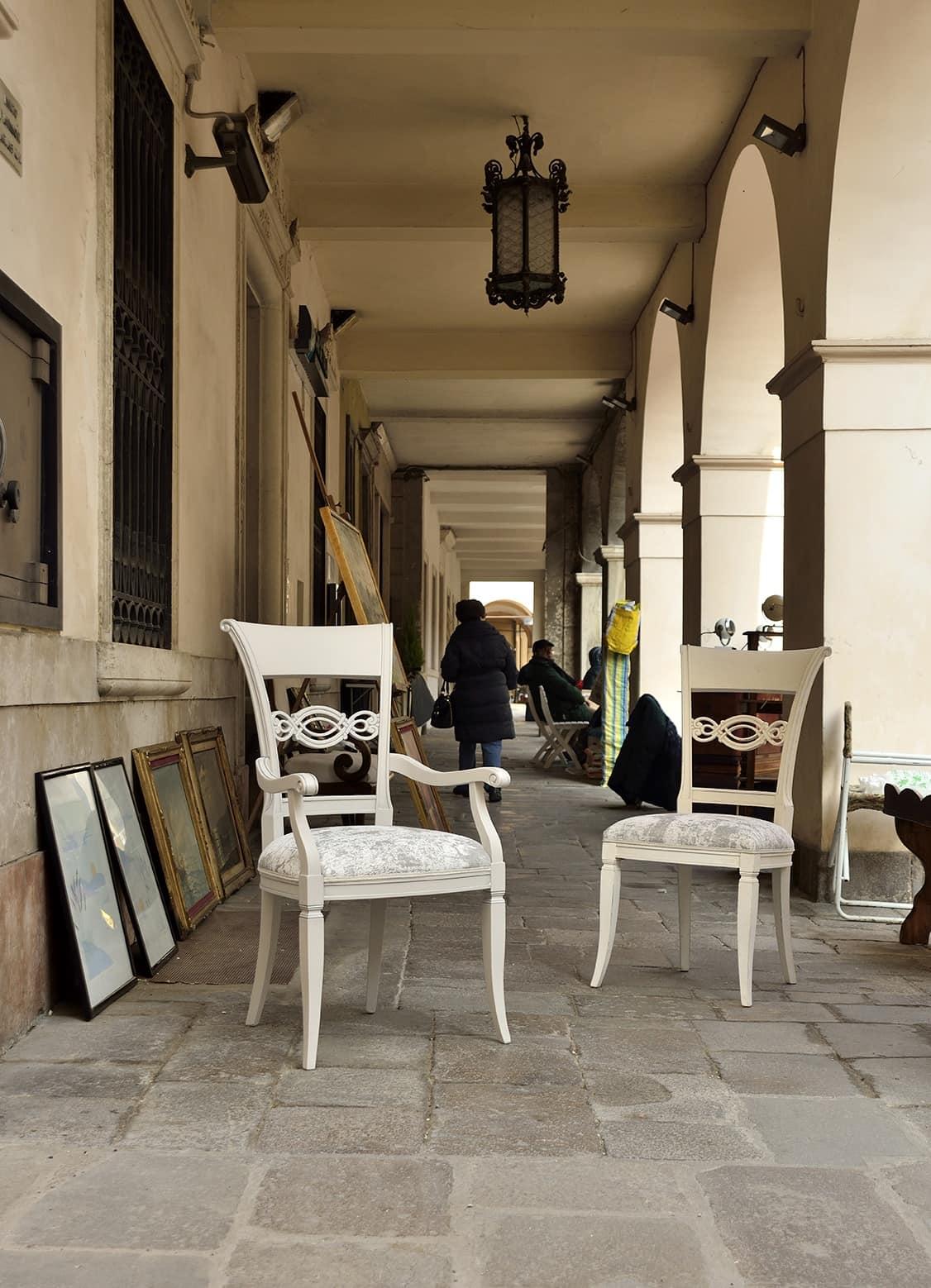 CHIMERA sedia 8524S, Sedia in stile classico con schienale in legno intagliato