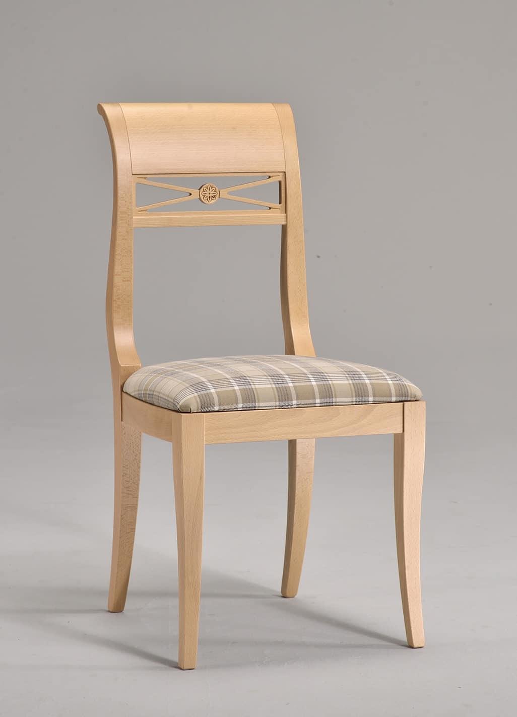 EVA sedia 8016S, Sedia con seduta imbottita, in faggio, motivo intrecciato