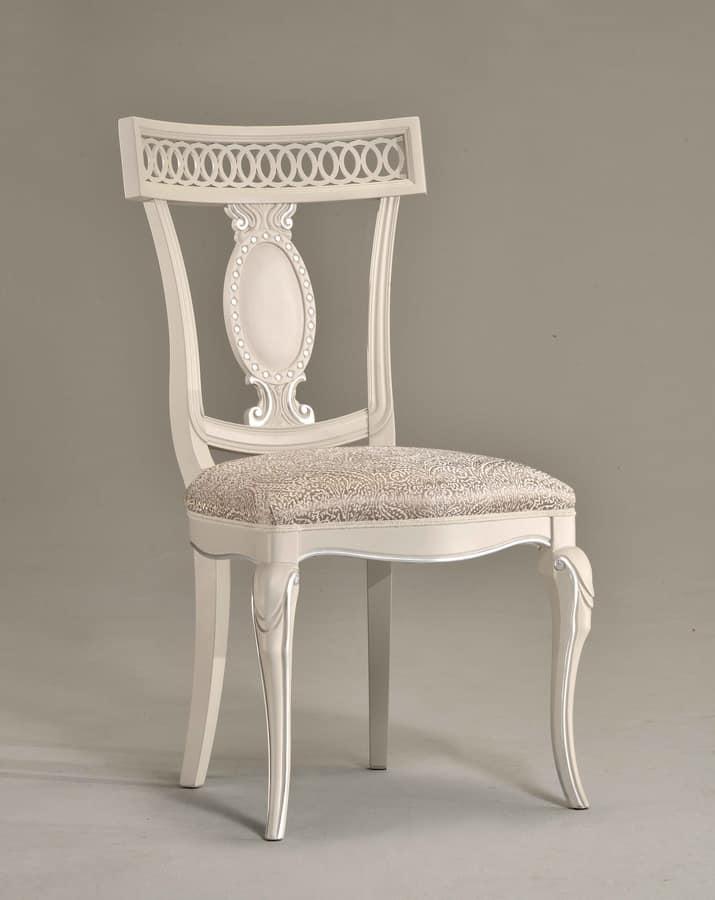 KAREN sedia 8283S, Sedia in legno con sedile in pelle, schienale intagliato