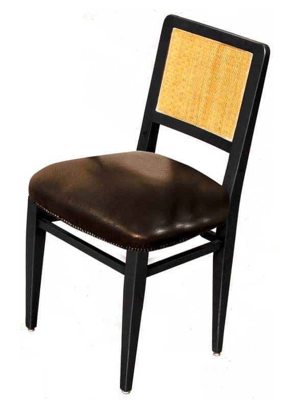 Liliane BR.0201, Sedia con struttura in noce, seduta in pelle