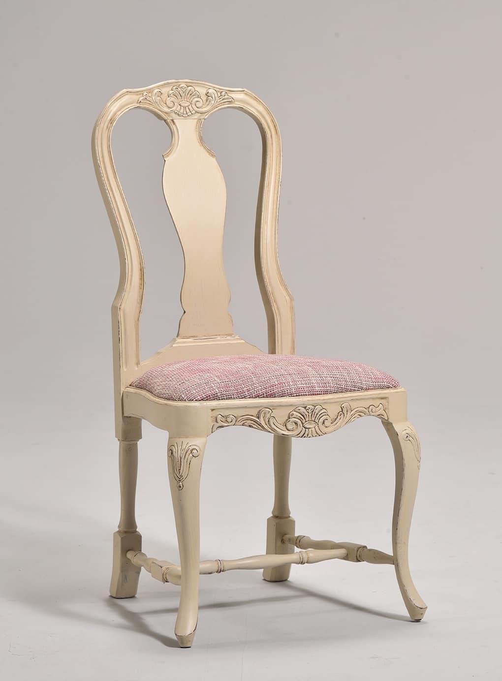 MALENE sedia 8124S, Sedia in stile gustaviano con seduta imbottita