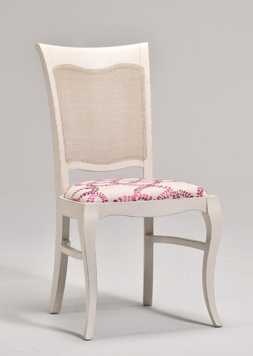 MILUNA sedia 8127S, Sedia in stile classico con sedile e schienale imbottiti