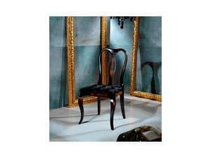 QUEEN ANNE sedia 8300S, Sedia in stile Chippendale, sedile imbottito