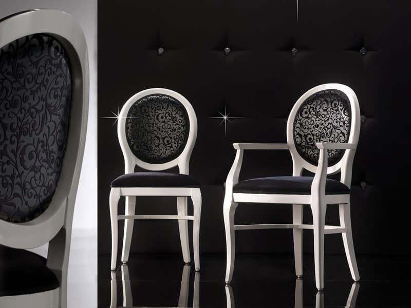 ADELAIDE sedia 8030S, Sedia imbottita con schienale tondo, personalizzabile