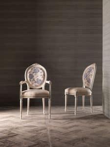 CARLA' sedia 8662S, Sedia in stile, con seduta e schienale imbottiti