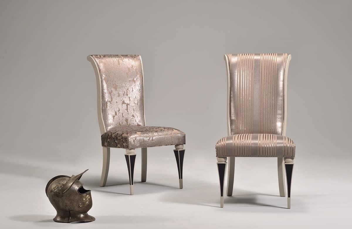 Sedia imbottita, in stile classico, in faggio, schienale alto ...