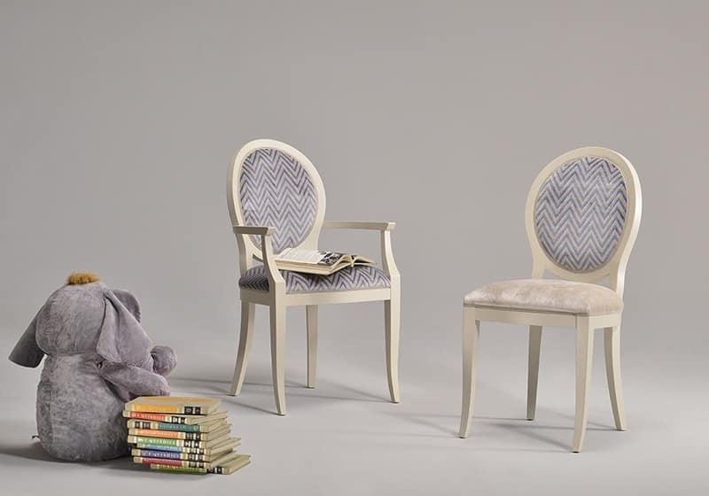 KORA sedia 8304S, Sedia in stile classico, con seduta e schienale imbottiti
