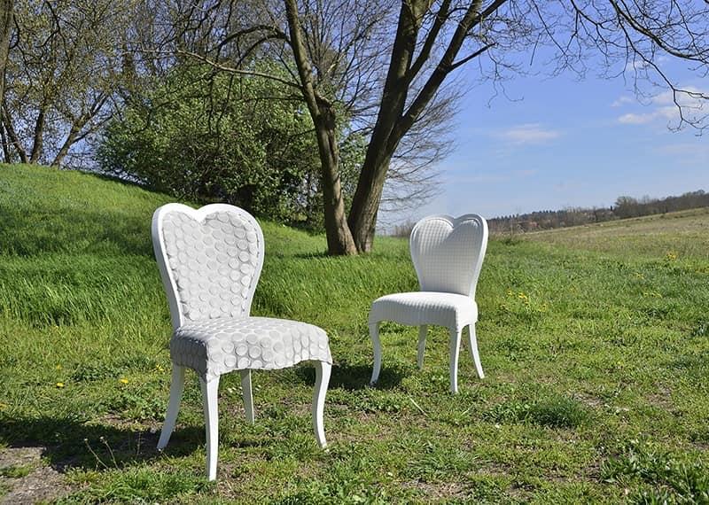 LOVE sedia 8528S, Sedia classica in faggio, schienale a forma di cuore