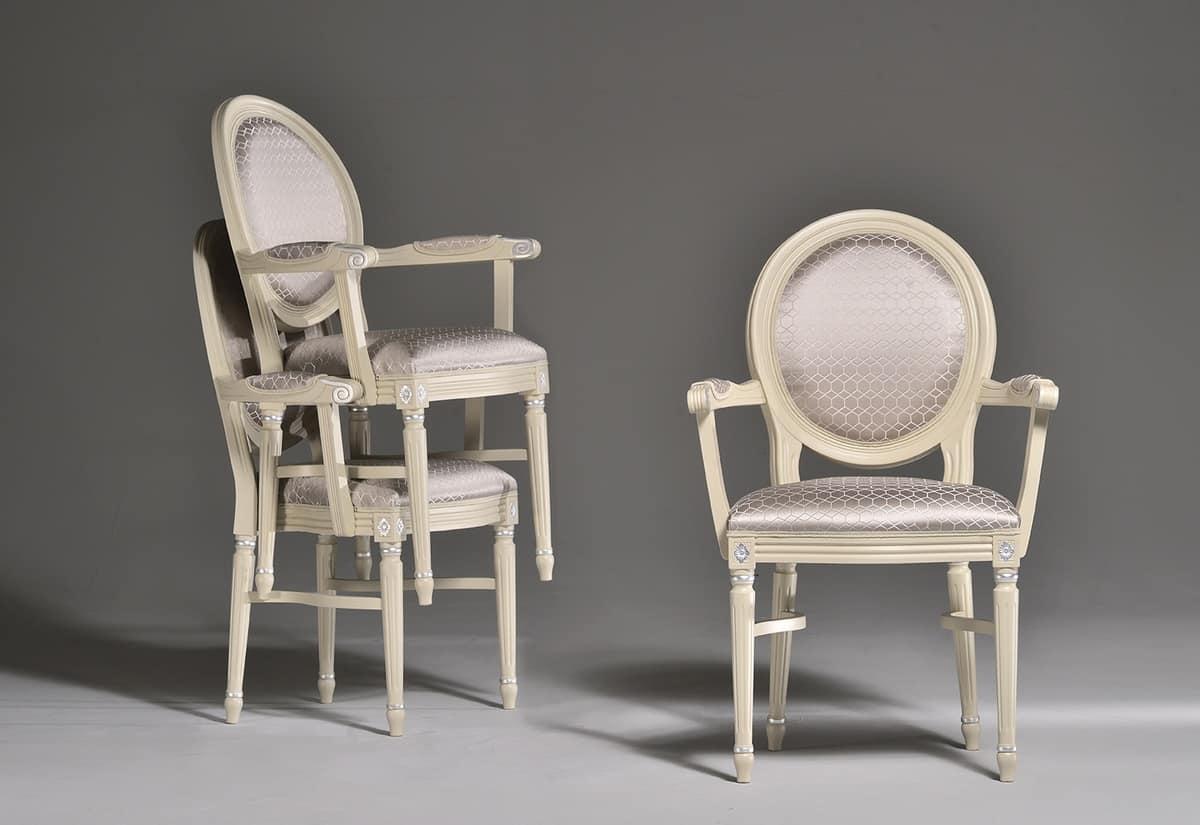 LUIGI XVI sedia impilabile8024S, Sedia da pranzo impilabile, tradizionale, per ristoranti
