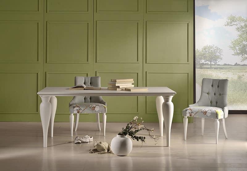 MARGOT sedia 8359S, Sedia classica contemporanea, sedile imbottito, in faggio