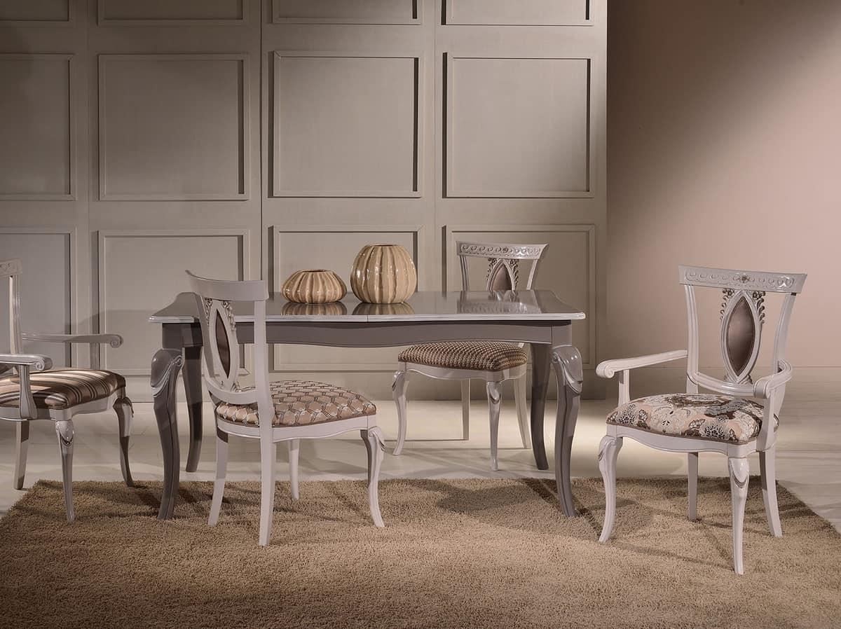 MICHY sedia 8169S, Sedia di lusso in legno massello intagliato