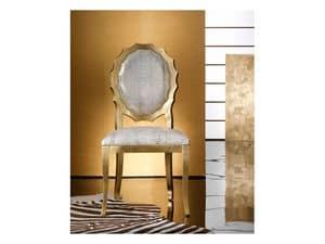 SUN sedia 8282S, Sedia in legno imbottita, schienale dalla forma particolare