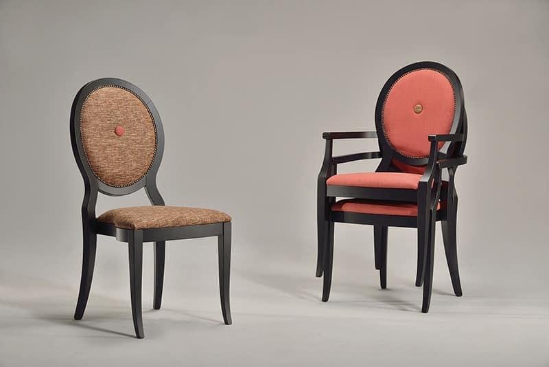 TATI sedia 8084S, Sedia impilabile con seduta e schienale imbottiti