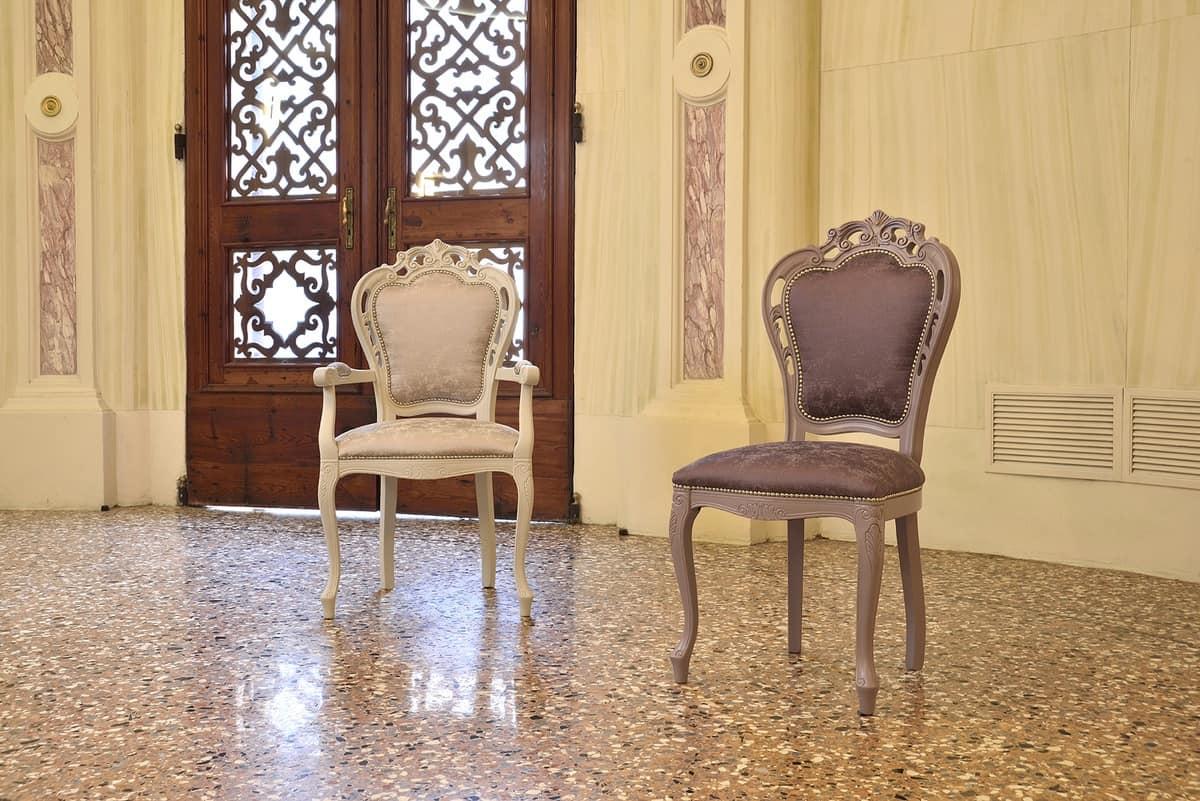 TRAFORATA sedia 8262S, Sedia in stile in faggio massello, imbottita