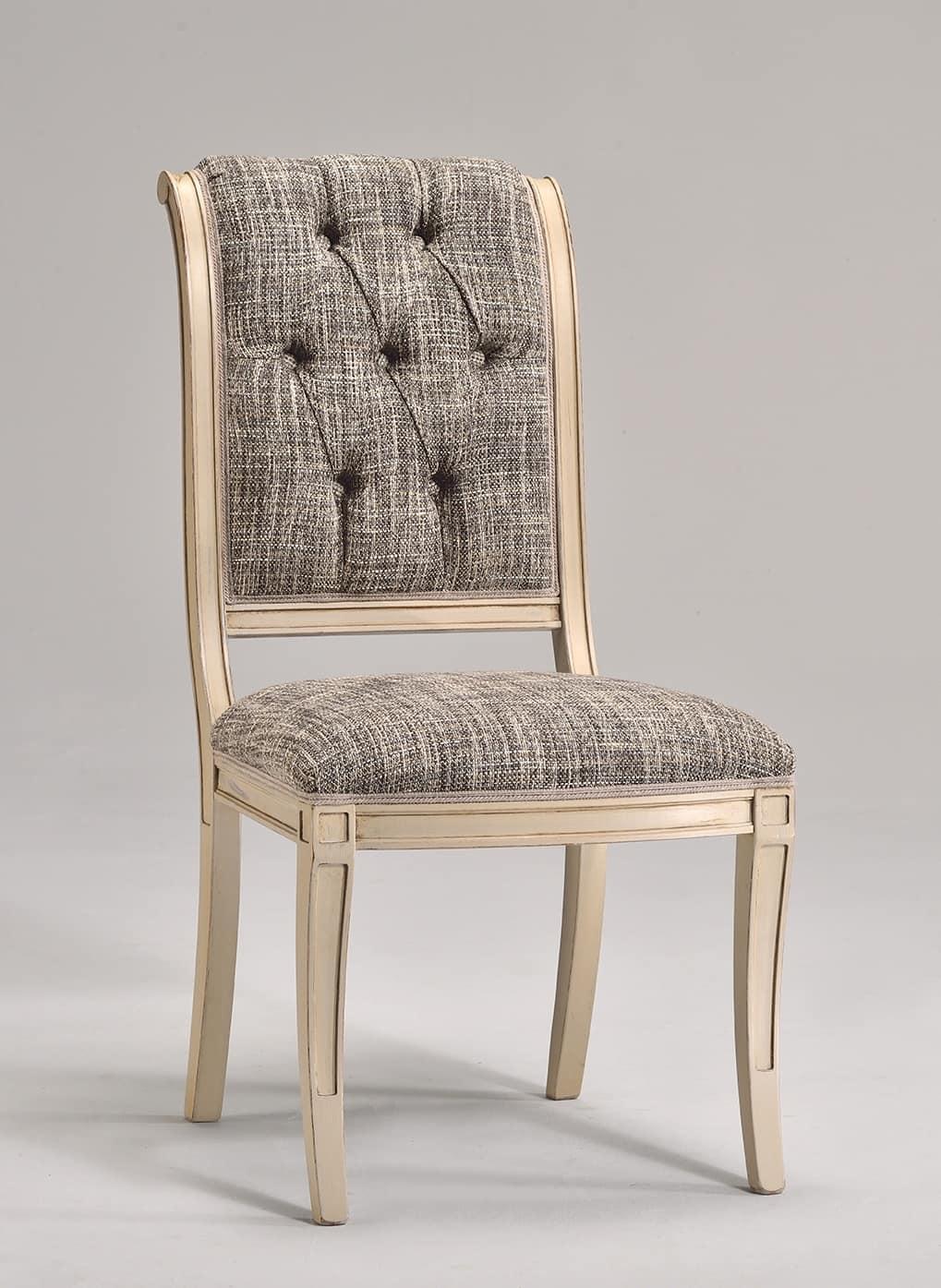 Sedia da pranzo in legno di faggio vari tessuti idfdesign for Sedia antica con braccioli