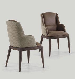 Darrel sedia, Sedia da pranzo con braccioli, rivestita in pelle