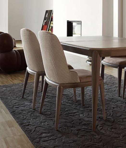 Sedia da pranzo in legno e pelle | IDFdesign
