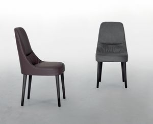 JULIETTE, Sedia in pelle, con morbida e confortevole seduta