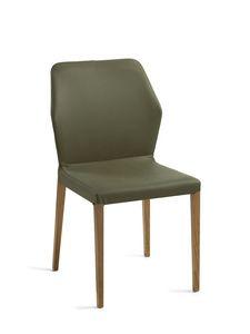 Mir� gambe legno, Sedia con gambe in legno, scocca rivestita