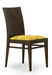 Sirio, Sedia con schienale in legno e seduta imbottita