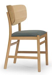 Viky, Sedia con schienale in legno curvato