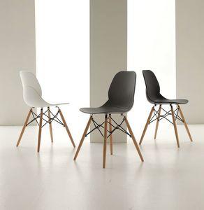 Art. 022 Shell Wood, Sedia in polipropilene, con gambe in legno