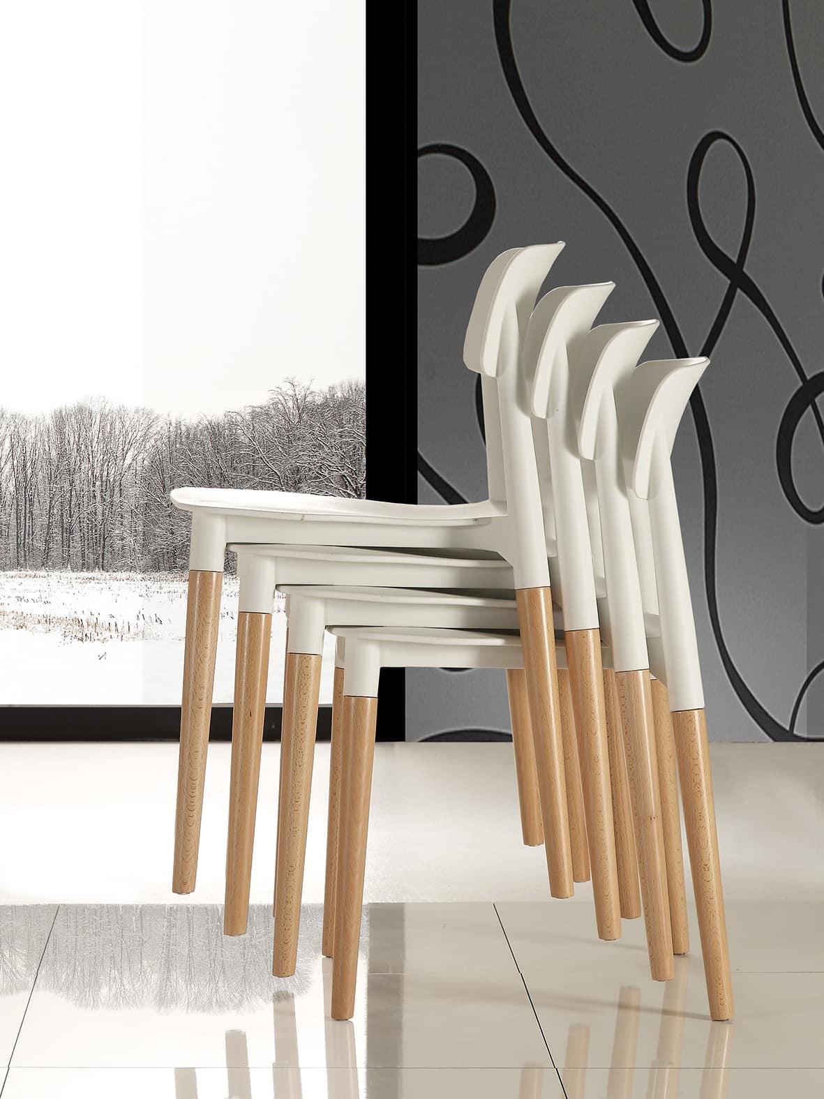 Art. 024 Artika Sedia Con Struttura In Legno #8A6541 1181 1575 Sedie Moderne Con Gambe In Legno