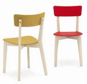 Holly, Sedia in legno con seduta in plastica