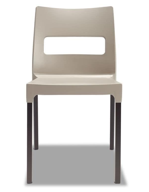 Sedia moderna in legno e tecnopolimero impilabile idfdesign for Sedie legno e plastica