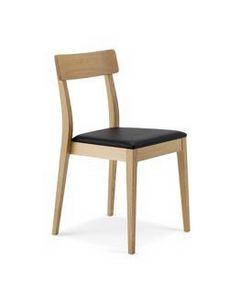 1082, Sedia lineare in legno con seduta imbottita, impilabile