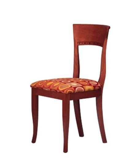 440, Sedia semplice in faggio, seduta imbottita, per agriturismo