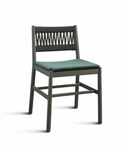 ART. 0025-IN-IMB JULIE, Sedia con schienale in corda intrecciata e seduta imbottita