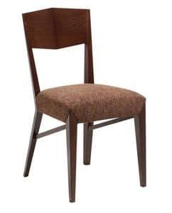 C31, Sedia in legno con seduta imbottita, ricoperta in tessuto, per ambienti contract