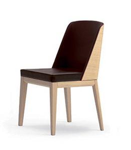 Elly Wood S, Sedia imbottita con parte posteriore dello schienale in legno