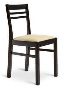GAIA, Sedia lineare in legno, seduta imbottita, uso contract