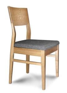 Giorgia S, Sedia lineare in legno, con seduta imbottita, per ristoranti